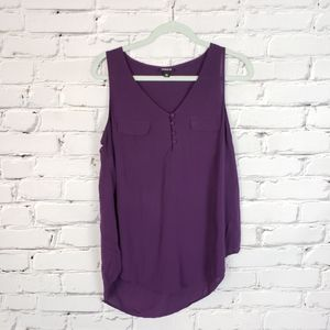 Torrid Purple Buttoned Tank Top